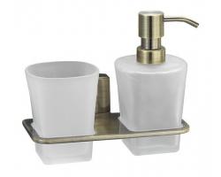 Держатель стакана и дозатора WasserKraft Exter К-5289 (светлая бронза)